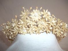 1940s Wax Flower Pearl Bridal Tiara Headpiece by Reneesance, $40.00