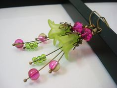 Lime Green and Hot Pink Flower Earrings, Antique Brass Vintage Style, Beaded Lucite Flower Earrings