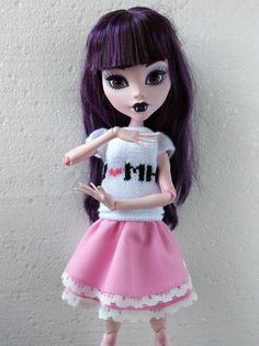 17 inch Monster High Doll Clothes. Hand-Knitted White Blouse