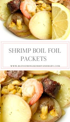 Shrimp Boil Foil Packets   — Blossoming Mommy and Baby Supper Recipes, Fish Recipes, Shrimp Boil Foil, Boiled Shrimp, Potato Dinner, Fajita Recipe, Foil Packets, Cooking Recipes, Healthy Recipes