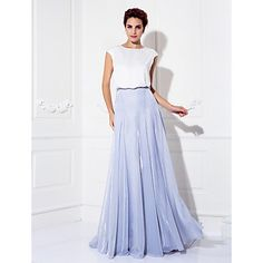 TS+Couture+Prom+Formal+Evening+Dress+-+Color+Block+A-line+Jewel+Sweep+/+Brush+Train+Tulle+Charmeuse+with+Buttons+–+DKK+kr.+3.056