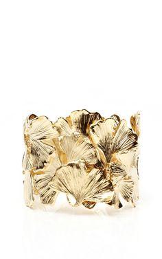 Gold Plated Ginkgo Feather Articulated Cuff by Aurelie Bidermann
