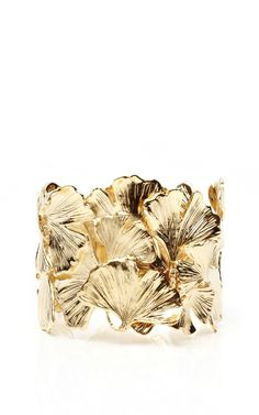 Gold Plated Ginkgo Feather Articulated Cuff by Aurelie Bidermann