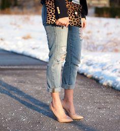 Grey Matter Beanie: Joe Fresh {similar}   Blazer: Ann Taylor   Faux-Fur Stole: H&M {old, similar}   Striped Shirt: Joe Fresh {similar}   Necklace: Emerald Bling   Jeans: Gap {similar}   Shoes: Zara {old, similiar}   Clutch: Clare Vivier   Watch: Micheal Kors   Bracelet: J. Crew   Sunnies: Celine