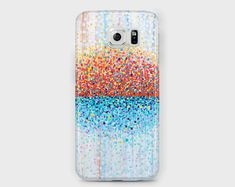 Red orange, turquoise and white Samsung phone case