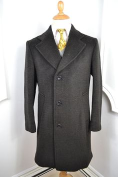 VINTAGE 1960 s JOHN COLLIER CROMBIE STYLE WOOL COAT OVERCOAT SMALL 38 REGULAR