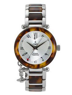 Women's Tortoise & Stainless Steel Round Watch by Vivienne Westwood