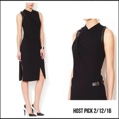 """HP 2/12/16 Helmet Lang Buckle Leather Trim Dress Size 2.  Color black.  Leather trim with buckle on one shoulder and side.  Leather going around each sleeve opening.  58% Viscose 39% Wool 3% Elastane. 100% Lamb Leather.  100% Polyester lining.  46"""" length 17"""" across underarm to underarm.  Dry clean and professional leather cleaning.  No trades/no PayPal. Helmut Lang Dresses Midi"""