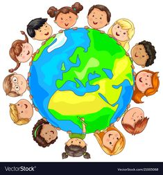 Cute kids different nationalities around planet Vector Image Painting For Kids, Drawing For Kids, Art For Kids, Earth Clipart, Children Holding Hands, Planet Vector, Bible Drawing, School Murals, Kindergarten