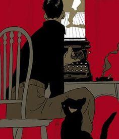 Escribiendo Una novela negra (Ilustración de Tomer Hanuka) #biblioteques_UVEG