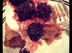 Brown Butter Blondies with Macerated Blackberries
