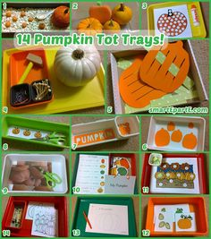 14 fun and festive pumpkin themed tot trays! Includes a free Silhouette Cameo template. Unintentionally free of jack-o-lanterns.