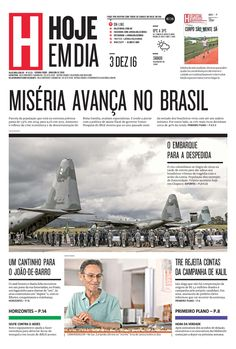 Capa do dia 03/12/2016 #HojeEmDia #Jornal #Notícias #News #Newspaper