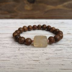 Only 1 left! Beautiful unique Citrine stone with rose gold Hematite and Wenge wood by EssennzDesigns on Etsy Rose Gold Anklet, Wenge Wood, White Agate, Bracelet Making, No Response, Handmade Items, Beaded Bracelets, Stone, Unique