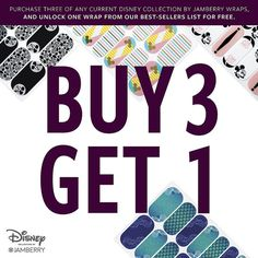 How crazy is this? Beginning Tuesday, July 25 till August 7, when you purchase 3 wraps from either one of the current Disney Collection by Jamberry Volumes (Volume 5 and 6), you can select your free wrap from a curated list of 8 best-selling wraps from Volumes 1 - 4 (while supplies last).
