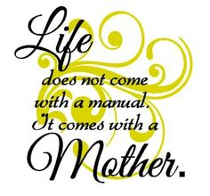 Life does not come with a manual. It comes with a mother.-) and father. I Love You Mom, Mom And Dad, My Love, Mom Quotes, Family Quotes, Funny Quotes, Mothers Love, Happy Mothers Day, Super Mom