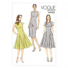 Vogue Ladies Sewing Pattern 9102 Straight and Flared Dresses with Godets | Sewing | Patterns | Minerva Crafts