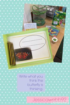 Write in the speech bubble what you think the butterfly or caterpillar is thinking. EYFS