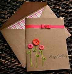 Button Flower Birthday Card with embroidered stems. you could easily make this (diy paper envelopes) Personalized Birthday Cards, Handmade Birthday Cards, Happy Birthday Cards, Greeting Cards Handmade, Diy Birthday, Friend Birthday, Greeting Cards For Birthday, Birthday Card With Name, Simple Birthday Cards