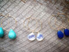 Moonstone+Hoops+/+Moonstone+Gold+Filled+by+MichelleParkerJewels,+$18.00