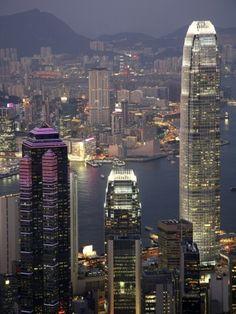 Hong Kong skyline and Victoria Harbor at night