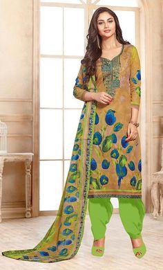 #Kilam - #Kilam Stylee - Contrast Floral Print With Multi Resham Thread Work Salwar Kameez  -Final Sale - AdoreWe.com