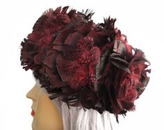 Vintage feathered pillbox hat, burgundy and black feathers all over, speckled Guinea Fowl feathers, fully lined, larger size, circa 1960s by CardCurios on Etsy First Flat, Guinea Fowl, Pillbox Hat, Pill Boxes, Black Feathers, Cool Hats, All The Way Down, Black Fabric, Larger