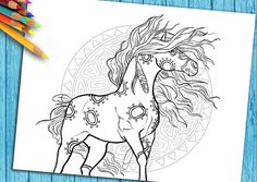 Adult Coloring Page  Horse  For Download. DO you love horses? Best Coloring book Pages for horse lovers.  Pin now View later! https://www.etsy.com/listing/257505972/adult-coloring-page-horse-for-download?ref=shop_home_active_9