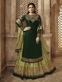 Green Multi Embroidered Wedding Lehenga Kurti Set is a steal the deal outfit showcasing glamorous style and ethnic elegance with its unique embroidered combination of zari, resham and stone work an. Long Choli Lehenga, Lehenga Suit, Lehenga Style, Party Wear Lehenga, Blue Lehenga, Silk Lehenga, Lehenga Designs, Kurti Designs Party Wear, Gharara Designs