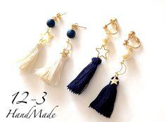 ハンドメイドマーケット+minne(ミンネ)|+月と星のtassel+earring/pierce