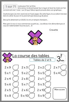 Multiplication Test, Cycle 3, Montessori, School, Couture, Learning Multiplication Facts, Multiplication Times Table, Behavior Sheet, Math Resources