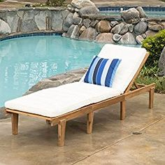 Paolo Outdoor Wood Chaise Lounge with Cushion