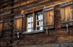 Wooden shutters, rustic wooden home, Southern Oberallgaeu, Germany