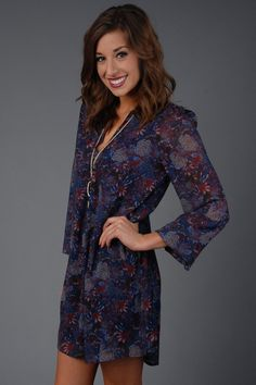 Navy Long Sleeve Boho Chiffon Dress