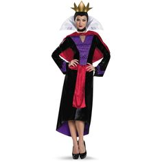 Disney Evil Queen Deluxe Costume For Women ($44) ❤ liked on Polyvore featuring costumes, disney, halloween costumes, womens costumes, party halloween costumes, ladies halloween costumes, evil snow white costume and party costumes