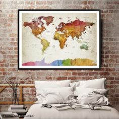 10043 - World Map Wall Art , World Map Push Pin Travel, Push Pin World Map, World Travel Map, Push Pin Map Canvas, Travel Map Canvas, Travel Map Art
