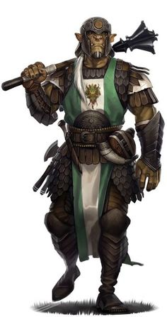 Half-Orc Cleric of Obad-Hai male RPG character inspiration for fantasy games - Pathfinder / DnD