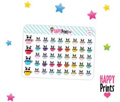 Panda bear with coffee, Planner Stickers, Kawaii stickers by HappyPrints1 on Etsy