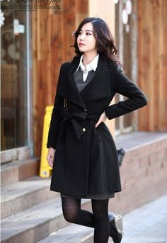 Turn-down Collar OL Style Slim Wool Long Coat With Belt