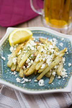 Feta Fries | Greek Style Fries With Feta | Lemon and Olives