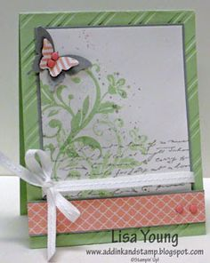 Stampin' Up! Flowering Flourishes stamp set. Handmade card with butterfly by Lisa Young, Add Ink and Stamp