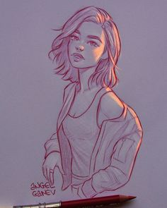 Illustration This illustrator creates extraordinary lighting effects on his drawings - Shopping For Girl Drawing Sketches, Cool Art Drawings, Pencil Art Drawings, Outline Drawings, Drawing Ideas, Drawing Tips, Pencil Sketching, Pencil Drawing Tutorials, Portrait Sketches