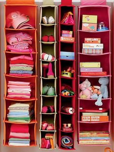 Hanging closet storage systems-to take advantage of as most space as possible.