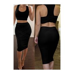 Black Sleeveless Bodycon Two Piece Dresses (£10) ❤ liked on Polyvore featuring dresses, black, knee-length dresses, black knee length dress, black body con dress, two piece bodycon dress and sexy dresses