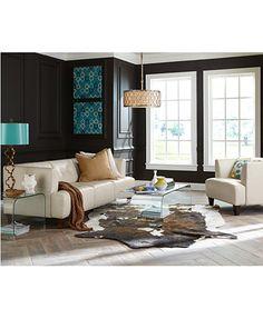 Alessia Leather Sofa Living Room Furniture Collection | macys.com