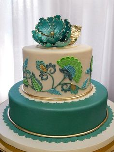 gold decorated cake - Google Search