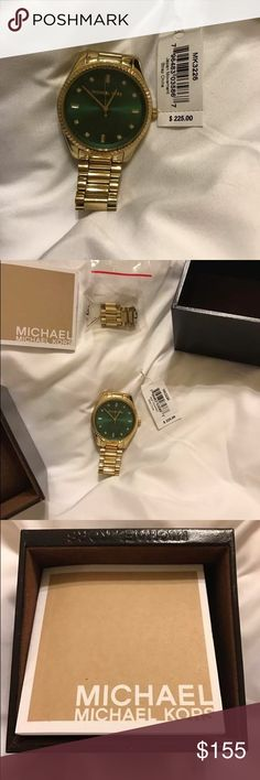 Michael Kors gold and green watch Only worn a few times, the extra links come with. Paid $225. Michael Kors Jewelry Bracelets