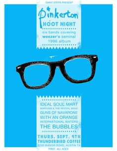 Awesome Weez concert poster with the Buddy Holly glasses <3