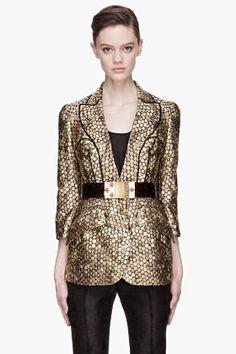ALEXANDER MCQUEEN S/S '13 gold and black honeycomb blazer.