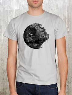 Death Star Vandalism - Men's Screen Printed Light Grey Shirt by Crawl Space Studios